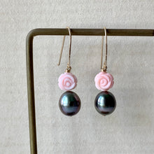 Load image into Gallery viewer, Rose Tahitian Pearls & Shell Roses (Hans Forged) 14kGF Earrings