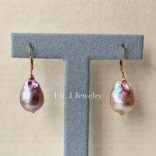 Load image into Gallery viewer, Pink- Rainbow Large Edison Pearls, Pink Topaz 14kGF Earrings