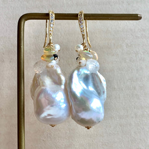 AAA White Baroque Pearls Opal Rainbow Moonstone