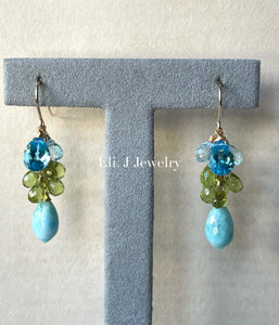 Summer 3: Larimar, Swiss Blue Topaz, Peridot 14kGF Earrings