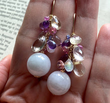 Load image into Gallery viewer, Type A Lavender Jade Balls & Gemstone Drops 14kGF Earrings