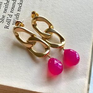 Hot Pink Chalcedony on Gold Links