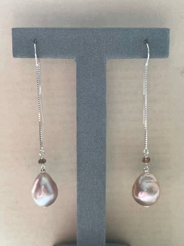 Large Pink Edison Pearls, Andalusite 925 Silver Threaders