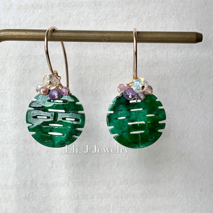 喜喜 #5: Double Happiness Old-Mine Jade & Opal & Gems 14kGF Earrings