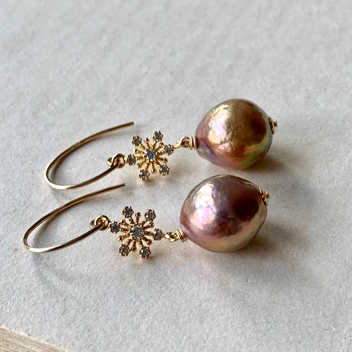 Rainbow Gold Edison Pearls, Snowflakes 14kGF Earrings