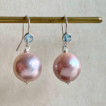 Load image into Gallery viewer, Blush Pink Round Edison Pearls 925 Sky Blue Topaz Hooks