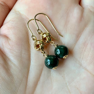 Light & Dark Green Knots 14kGF Earrings