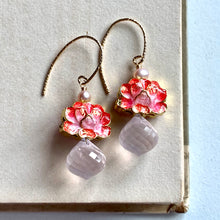Load image into Gallery viewer, Coral Lotus Cloisonne & Rose Quartz 14kGF Earrings