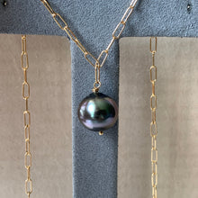 Load image into Gallery viewer, AAA Dark Rose Tahitian Pearl on 14kGF Link Necklace