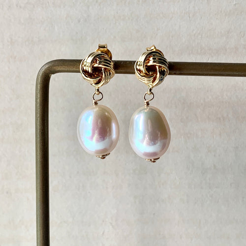 White Freshwater Pearls on Knot Studs