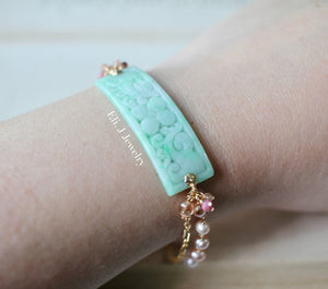 Exclusive to Eli. J: Type A Mint Green Carved Jadeite Bar, Pearls, Rhodocrosite, Sunstone Bar Bracelet 14kGF