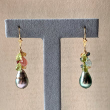Load image into Gallery viewer, Circle Mismatched AA Tahitian Pearls & Gemstones 14kGF Earrings