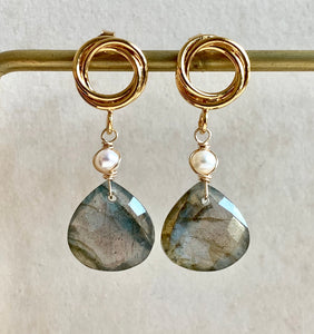 Labradorite & Pearl Gold Earrings