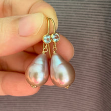 Load image into Gallery viewer, Pink-Peach Edison Pearls on Sky Blue Topaz 14k Gold Filled