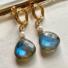 Load image into Gallery viewer, Labradorite & Pearl Gold Earrings