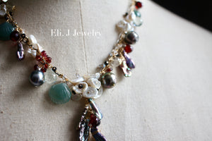 "One-of-a-Kind: ""Deep Sea Treasures"": Jade Shells, Tahitian Pearls, Keishi Pearls, Gemstone Necklace"