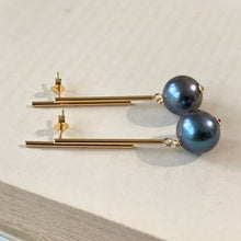 Load image into Gallery viewer, Peacock Blue Freshwater Pearls on Statement Bar Studs
