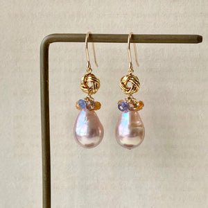 Soft Pink Rainbow AAA Edison Pearls & Andalusite, Tanzanite Gems Knots 14kGF