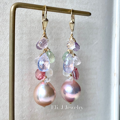 Rainbow Pink Large Edison Pearls, Lavender quartz, Rose Quartz, Pink Topaz 14kGF Earrings