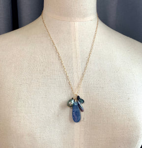 AA Tahitian Pearl, Kyanite, Black Opal, London Blue Topaz 14kGF Necklace
