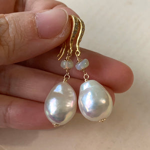 Rainbow Glow White Baroque Pearls, Opal 14kGF Earrings