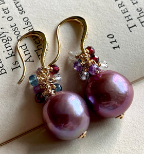 Deep Lavender Pearls & Gemstones Gold Earrings
