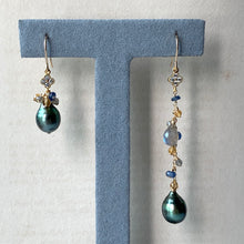 Load image into Gallery viewer, Peacock Tahitian Pearls & Gems Mismatched 14kGF Earrings
