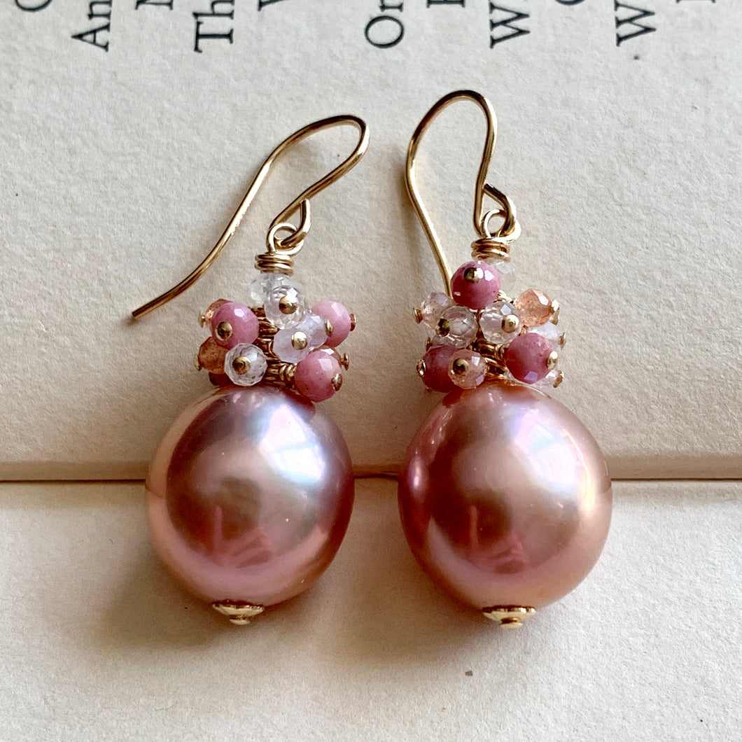 Pink Round Edison Pearls & Pink Gems on 14k Gold Filled