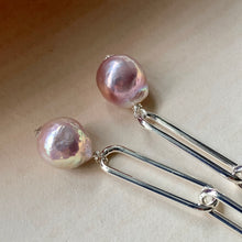Load image into Gallery viewer, Lilac Edison Pearls on Silver Statement Link Earrings