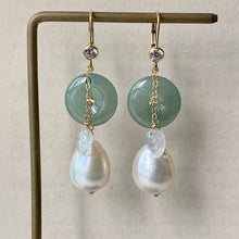 Load image into Gallery viewer, Type A Burmese Green Jade, White Baroque Pearls & Rainbow Moonstone Leaf 14kGF Earringd