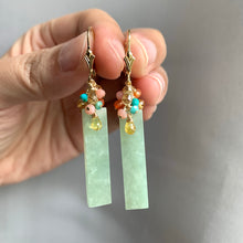 Load image into Gallery viewer, Signature Type A Apple-Green Jade Bars & Gemstones Earrings