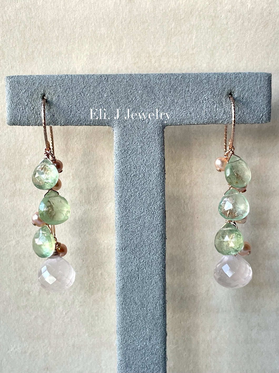 Spring 1: Rose Quartz, Prehnite, Pearls 14kRGF Earrings