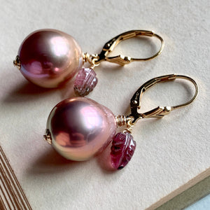 Lavender Edison Pearls, Watermelon Tourmaline on 14k Gold Filled