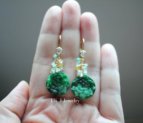 Exclusive: Peony Dark Green Type A Jadeite, Yellow Diamonds, Emerald, 14kGF Earrings