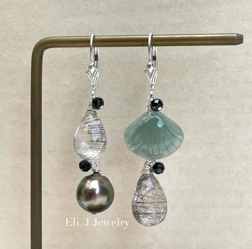 Exclusive to Eli. J: Bluish-Green Jade Shells, Tahitian Pearl, Black Rutile 925 Silver Earrings