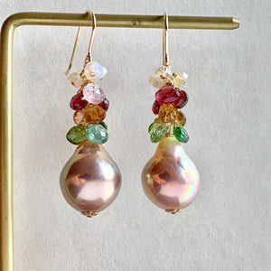 Tourmaline, Opal & Rainbow Lustre Peach Pearls on 14k Gold Filled
