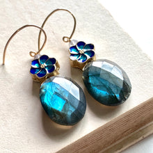 Load image into Gallery viewer, Labradorite, Sakura Cloisonne 14kGF Earrings