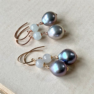 Silver Baroque Pearls & Icy Jade 14kGF/RGF Earrings