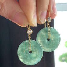 Load image into Gallery viewer, Icy Deep Green Type A Jade 14kGF Earrings