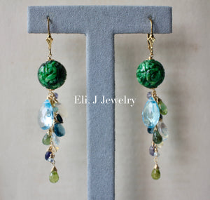 Type A Carved Deep Green Jade Balls & Blue Gemstones 14kGF Earrings