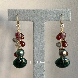 Eli. J Exclusive: Emerald Type A Jade Shells, Tahitian Pearls, Garnet, Rutile 14kGF Earrings