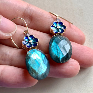 Labradorite, Sakura Cloisonne 14kGF Earrings