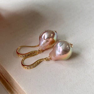 Pink Rainbow Edison Pearl Earrings Gold