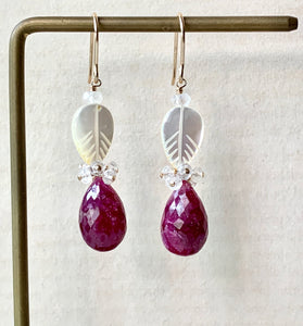 AAA Ruby Mother-of-Pearl Leaves 14k GF Earrings