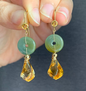 Petite Jade Donuts: Blue-Green-Yellow Type A Jade & Citrine