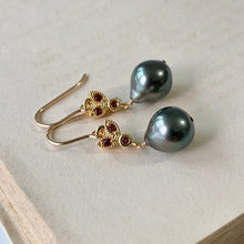 Load image into Gallery viewer, Tahitian Pearls & Deep Red Bee 14kGF