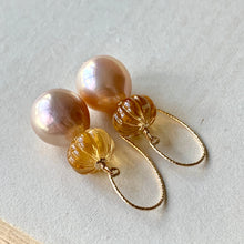 Load image into Gallery viewer, Light Peach & Citrine Pumpkin 14kGF Earrings