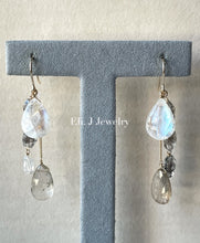 Load image into Gallery viewer, Winter 3: Rainbow Moonstone, Golden Rutile, Herkimer Quartz 14kGF Earrings
