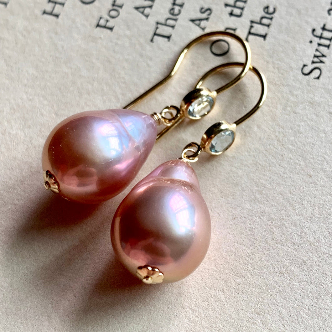 Pink-Peach Edison Pearls on Sky Blue Topaz 14k Gold Filled