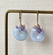Load image into Gallery viewer, Eli. J Signature: Lavender Jade Donuts & Gems 14kGF Earrings